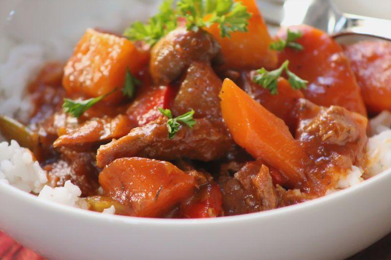 Vegan pot roast close up